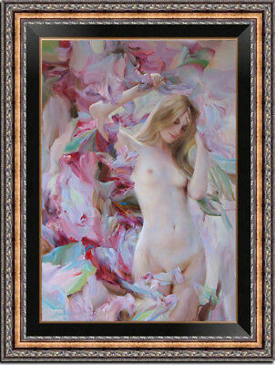 """Hand-painted Original Oil Painting art Portrait nude Girl on canvas 24""""x36"""""""