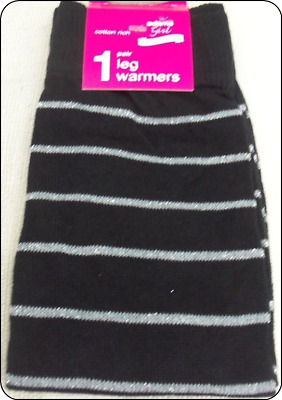 One Size -COTTON RICH ADAMS Girl Black Leg Warmers with Silver sparkle Stripes