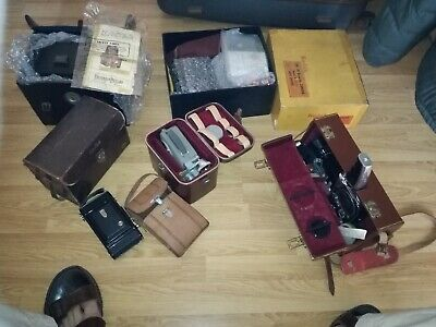 job lot of 6 x antique cameras with original cases and accessories