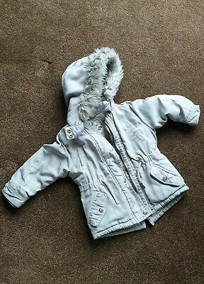 NEXT Girls Light Grey Jacket Coat Age 1-2yrs VGC With Faux Fur