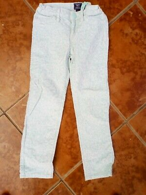 Girls GAP kids White with Green Pattern Skinny Fit Trousers age 6 VGC