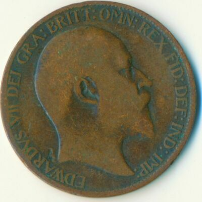 1907 Half Penny Of Edward Vii. Very Nice Collectible Coin    #Wt6924