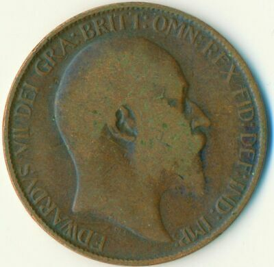 1907 Half Penny Of Edward Vii. Very Nice Collectible Coin    #Wt6928