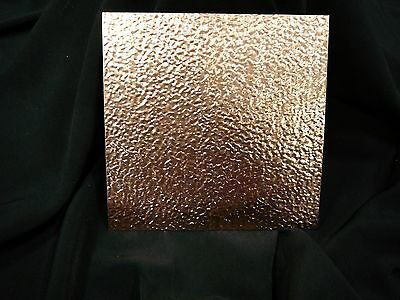 """16oz Embossed Copper Sheet- 22 Ga., .0216"""" Thick - 6""""x6"""" - * FREE SHIPPING *"""