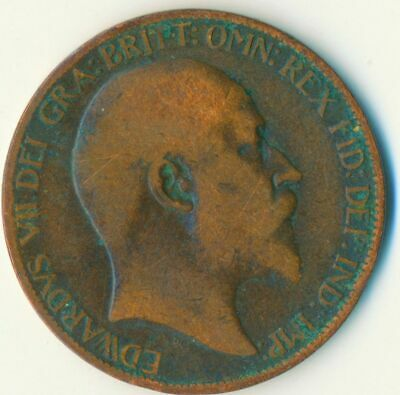 1907 Half Penny Of Edward Vii. Very Nice Collectible Coin    #Wt6941