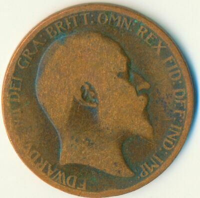 1907 Half Penny Of Edward Vii. Very Nice Collectible Coin    #Wt6956