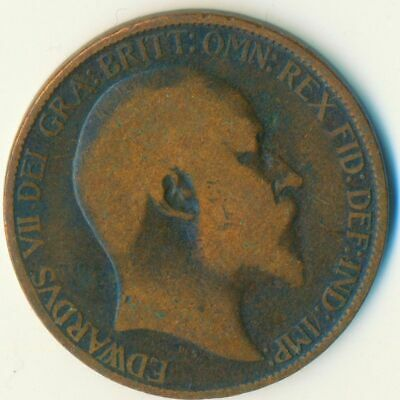 1903 Half Penny Of Edward Vii. Very Nice Collectible Coin    #Wt6959