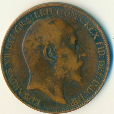 1907 Half Penny Of Edward Vii. Very Nice Collectible Coin    #Wt6961