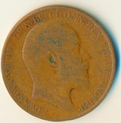 1906 Half Penny Of Edward Vii. Very Nice Collectible Coin    #Wt6963