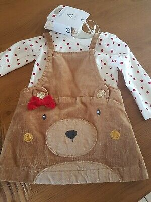 Next Baby Girls Outfit Bear Pinafore Top @ Tights Age 3-6 Months New