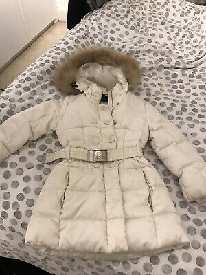 Genuine Girls White Geox Coat Aged 6 With Fur Collar
