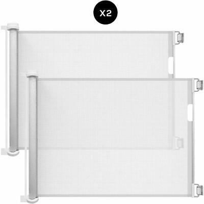 Callowesse Retractable Mesh Stair Gate 0-130cm - White - 2 Pack