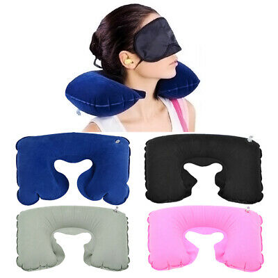Travel Pillow Inflatable U shaped Neck Support Airplane Rest Head Cushion F/1
