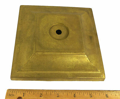 Table Base Square Cast Heavy Solid Raw Brass Lamp Part Unused was in Storage