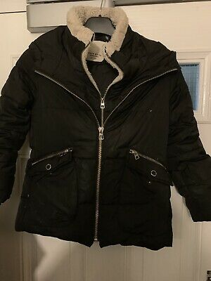 Zara Girls Outer Wear Girls Black Hooded Fake Fur Trim Down Filled Jacket Age 8