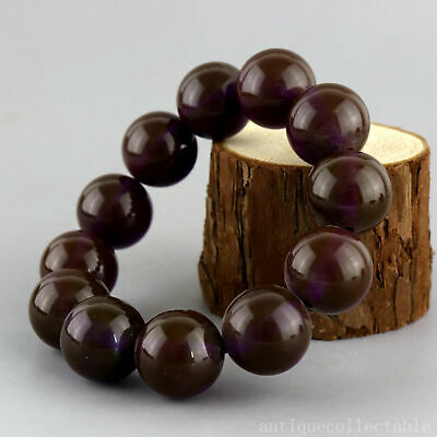 Collect China Old Blue Amber Hand-Carved Texture Smooth Bead Precious Bracelet