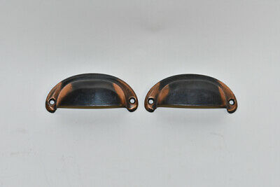 Oxidized Copper Flash Bin Pulls Pair Japanned Furniture Hardware Antique Drawer