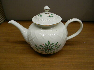 """Lenox China """"Holiday Carved"""" Dimension Pattern Teapot"""