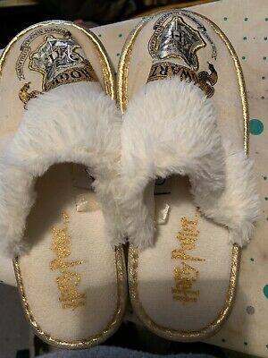 Primark Girls Cream/Gold Harry Potter Hogwarts Mule Slippers Size 2-3