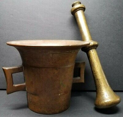 Heavy Brass Bronze Mortar And Pestle Pharmaceutical Use Apothecary 19th Century