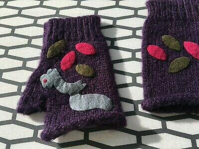 Wooden Ships Anthropologie Paola Buendia Purple Gloves Fingerless Mittens Women