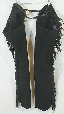 Chaps Barnstable Riding Suede Leather Black Fringe Vintage Western Zippers NWT M