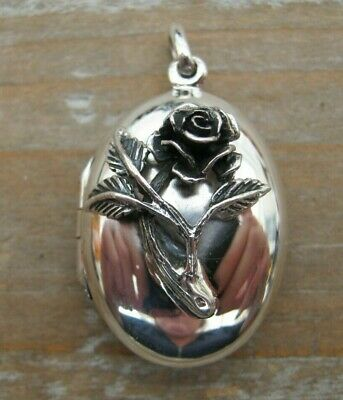Beautiful Victorian Style Solid Silver 925 Rose Fob Locket Pendant - Family