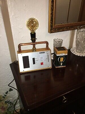 Table Lamp:Vintage/Retro Solid Oak Cased Ex Voting Station Converted To Lamp