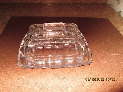 Vintage All Glass Two Piece Butter Dish