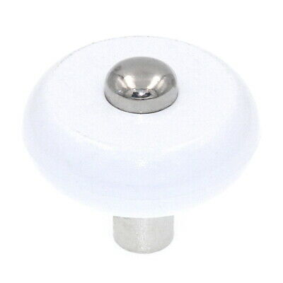 "Amerock Allison White and Nickel 1 3/16"" Round Cabinet Knob BP76268WH14"
