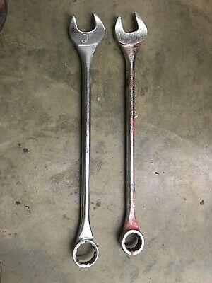"""2 Gray Tools 1-13/16"""" 3158, 2"""" 3164 12 Point Combination Wrenches Made in Canada"""