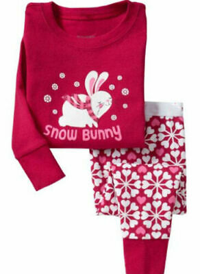 Girl Kids Christmas Xmas Pyjama Bunny Winter Pajamas PJs Nightwear 1 2 3 4 yrs