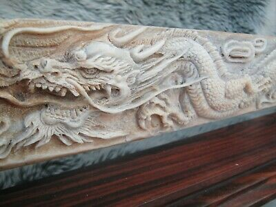 LARGE 3 Foot Carved Bone Chinese Dragon Fighting A  Pheonix - Swordfish Rostrum