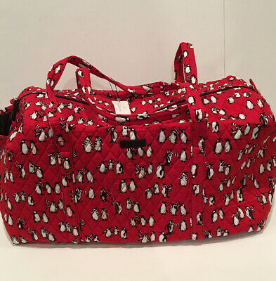 Vera Bradley Playful Penguins Red LARGE DUFFEL Travel Weekend Foldable Bag New