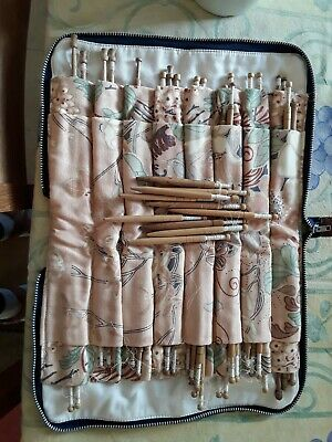 Vintage Zipped Bag with Wooden Honiton (?) Lace Making Bobbins In, 50+ bobbins