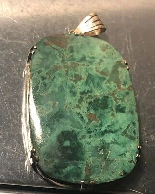 Vintage Native American Indian Navajo Large Green Turquoise Pendent