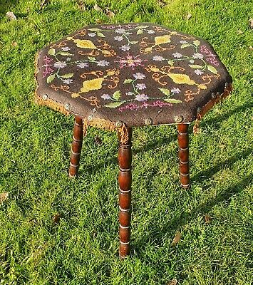 An Antique Gypsy Table, Bobbing Turned Legs, Original Needlework Top