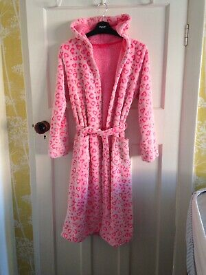 M&S Girls Pink Heart Supersoft Dressing Gown Age 13-14