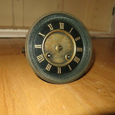 Antique French clock movement dial and door Japy Freres & Cie spares or parts.