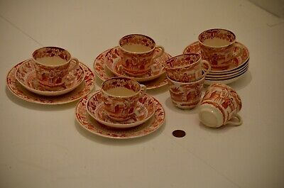 Rare Antique Early 20th Century Chinese Red & White Transfer Porcelain Tea Set