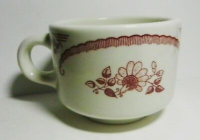 Homer Laughlin  Red Scrolls Flowers Cup-Restaurant Ware-Best China 962 Hlc-