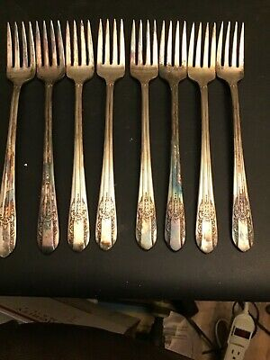8 Cocktail Forks WM Rogers Mfg.Co. Extra Plate Silver Plate Flatware Reflection