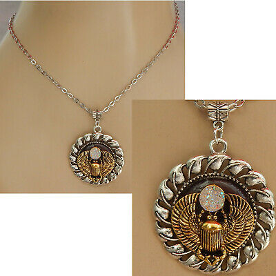 Scarab Pendant Necklace Jewelry Silver Handmade NEW Beetle Adjustable Gold
