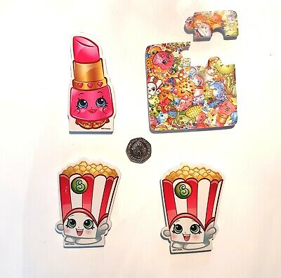 4 x Large Shopkins Scented Giant Erasers Poppy Corn Lippy Lips & A Puzzle Eraser