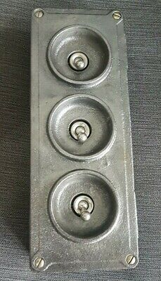 Crabtree Vintage Industrial Light Switch Three 3 Gang Salvaged Reclaimed Retro