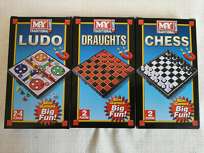 MY Magnetic traditional travel games Chess Draughts Ludo Bundle caravan camping