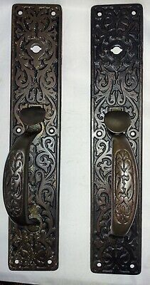 Pair Antique Sargent Door Hardware Victorian c1880s Cast Iron Door Pulls
