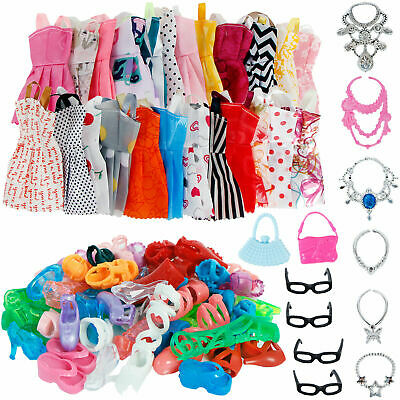 32 Doll Accessories=10 Mix Fashion Cute Dress+ 4 Glasses+6 Necklaces+2Handbag uk