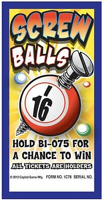 """""""Screw Balls"""" Pull Tab Ticket $25 Profit 75 Count $50 Payout"""