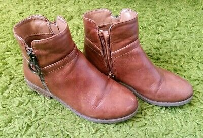 River Island Girls Brown Tan Chelsea Ankle Boots Size 10